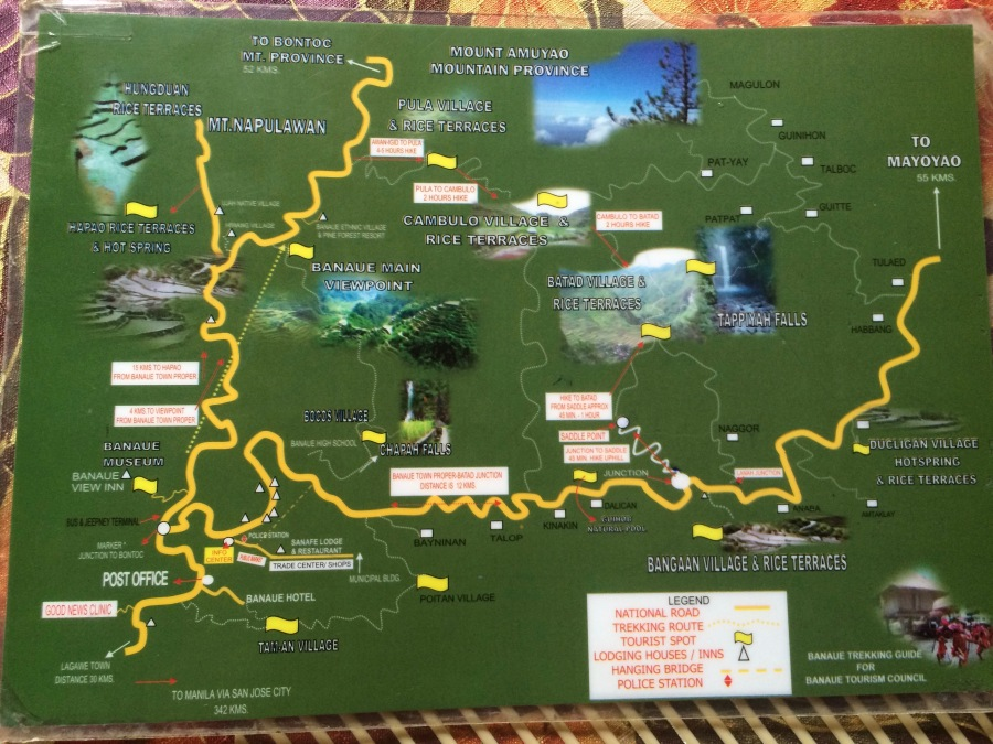 Trekking map for the Ifugao rice terraces.