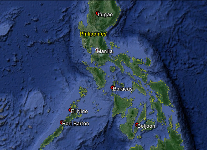 Map of our travels through the Philippines.