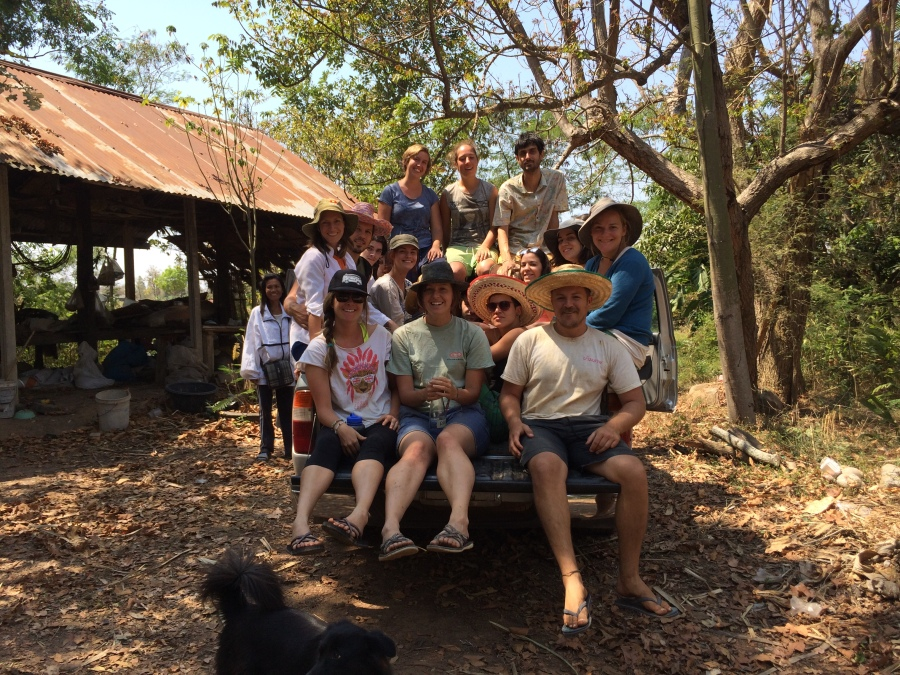 Mindfulness Project volunteers heading home after planting trees for the day, Khon Kaen, Thailand.